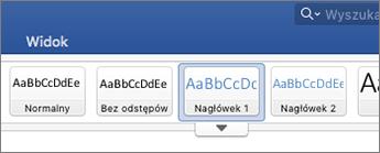 Zrzut ekranu przedstawiający opcje stylu nagłówka