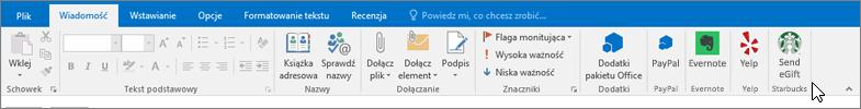 Zrzut ekranu przedstawiający na wstążce programu Outlook z fokusem na karcie wiadomość w miejsce, w którym znajduje się kursor wskazuje dodatków po lewej stronie. W tym przykładzie dodatki są dodatków pakietu Office, usługi PayPal Evernote, Yelp i Starbucks.