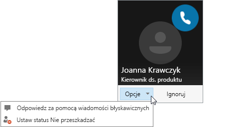 Zrzut ekranu przedstawiający powiadomienie o połączeniu z otwartym menu Opcje.