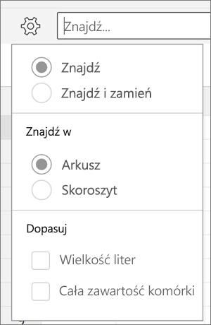 Pokazuje opcje wyszukiwania, znajdowanie i zamienianie, arkusz, skoroszyt, litery a całej zawartości komórki Znajdź w programie Excel dla systemu Android.