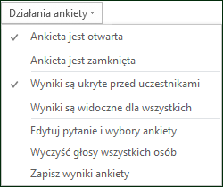 Zrzut ekranu przedstawiający działania ankiety