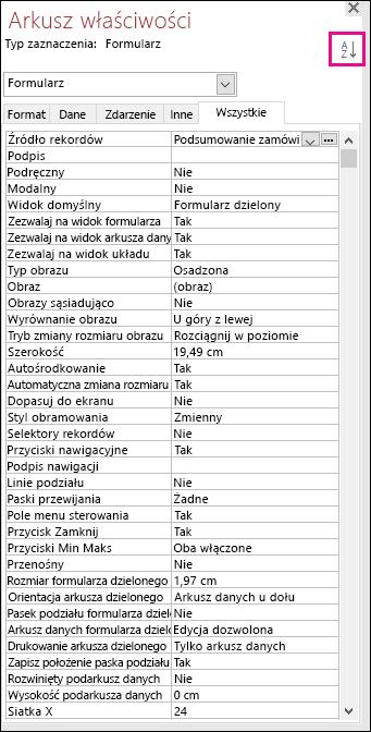 Zrzut ekranu przedstawiający arkusz właściwości programu Access bez sortowania właściwości