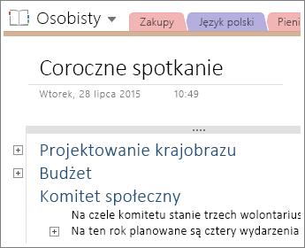 Zrzut ekranu przedstawiający stronę w programie OneNote 2016 ze strukturą hierarchiczną.