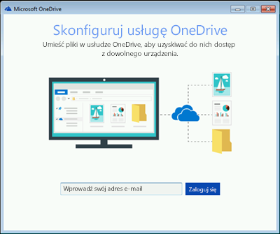 Zrzut ekranu przedstawiający pierwszy ekran konfiguracji usługo OneDrive w systemie Windows 7