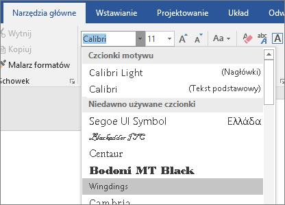 Wybór czcionki rozszerzony przy użyciu wybrana czcionka Wingdings.