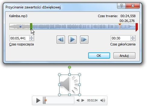 Przycinanie zawartości dźwiękowej