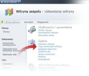 Wybieranie typów zawartości witryny w oknie Ustawienia witryny