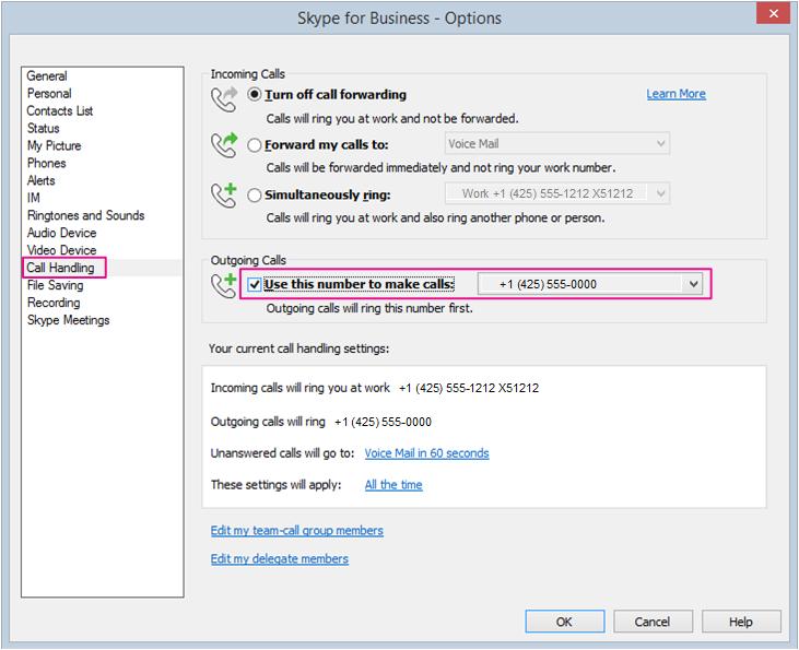 Ustaw opcje dotyczące korzystania ze Skype'a dla firm przy użyciu telefonu stacjonarnego lub innego telefonu.
