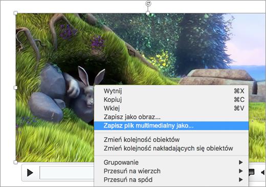 Slajd zawierający obraz i wybrane polecenie Zapisz jako obraz w menu skrótów