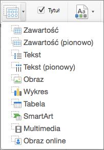 Pozycja Wstaw symbol zastępczy w programie PowerPoint dla komputerów Mac