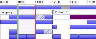 Siatka godzin wolnych/zajętych w programie Outlook