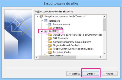 Wybierz folder kontaktów, który chcesz wyeksportować.