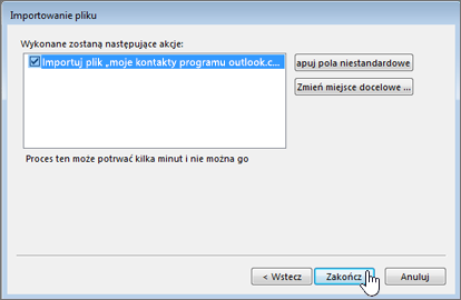 Po zaimportowaniu kontaktów usługi Gmail do skrzynki pocztowej usługi Office 365 kliknij przycisk Zakończ, aby rozpocząć migrację