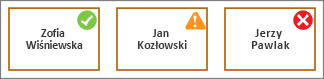 Kształty z ikoną znacznika wyboru, ikona rentowności i ikona czerwonego znaku X