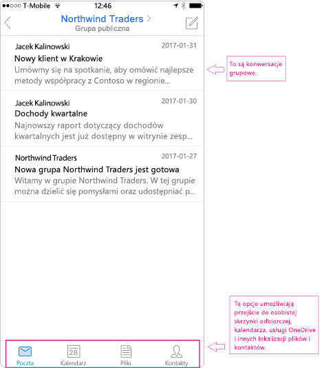 Widok konwersacji grupy w aplikacji mobilnej programu Outlook