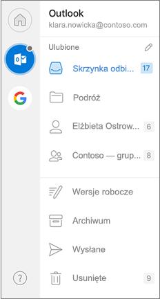 Okienko nawigacji programu Outlook z ulubionymi na górze