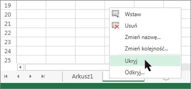 Kliknij prawym przyciskiem myszy kartę arkusza i kliknij polecenie Ukryj, aby ukryć arkusz.