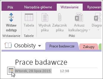 Zrzut ekranu, na którym wyjaśniono, jak zmienić sygnaturę daty strony w programie OneNote2016.