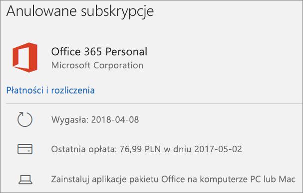 Przedstawia wygasłą subskrypcję usługi Office 365