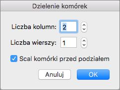 Zrzut ekranu przedstawiający okno dialogowe Dzielenie komórek z opcjami ustawienia liczby kolumn i wierszy.