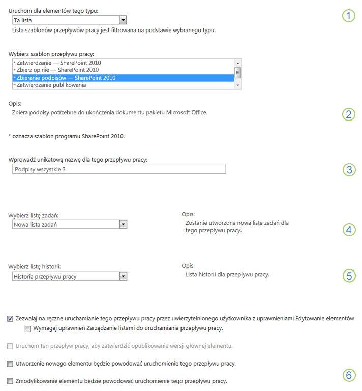 Pierwsza strona formularza skojarzenia dla pojedynczej listy lub biblioteki