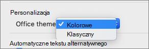 Lista rozwijana motywów pakietu Office, w której użytkownik może wybrać motyw kolorowy lub klasyczny