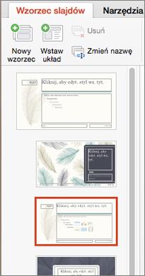 W okienku miniatur są wyświetlane układy podczas edytowania wzorca slajdów