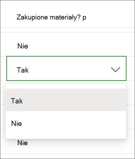 Zrzut ekranu z programu Project zmienianie zawartości kolumny tak/nie
