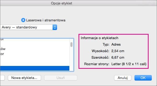Po wybraniu produktu etykiet z listy Numer produktu po lewej program Word wyświetla jego wymiary po prawej.