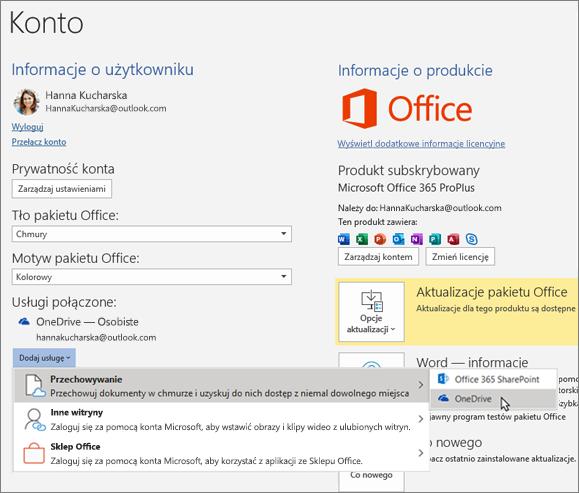 """Okienko Konto w Aplikacjach pakietu Office z zaznaczoną opcją """"Magazyn OneDrive"""" w menu """"Dodaj usługę"""" w obszarze Usługi Połączone"""
