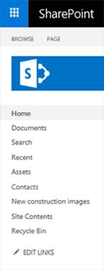 Pasek programu SharePoint 2016 usługi SharePoint Online klasyczny Szybkie uruchamianie