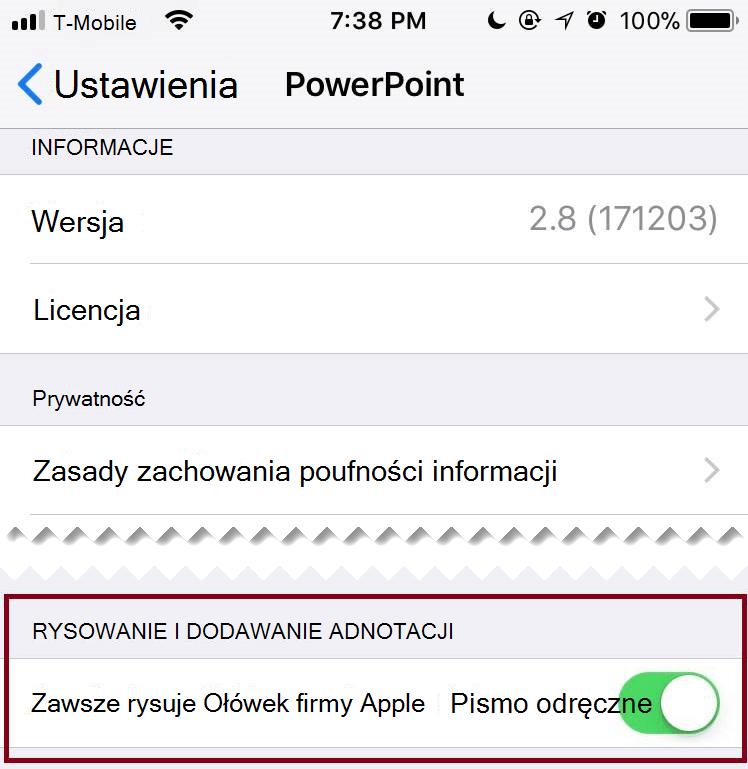 W ustawieniach aplikacji można przełączać automatyczne pisanie odręczne lub Włączanie.