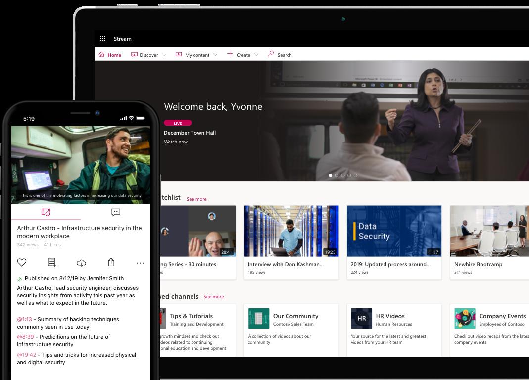 Zdjęcia poglądowe przedstawiające interfejs użytkownika usługi Stream na urządzeniach stacjonarnych i przenośnych