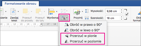 Wyróżniona pozycja Obróć obiekty na karcie Formatowanie obrazu