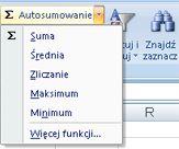 Używanie funkcji Zliczanie dostępnej za pośrednictwem polecenia Autosumowanie