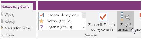 Zrzut ekranu: przycisk Znajdź znaczniki w programie OneNote 2016