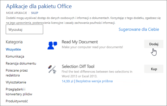 Zrzut ekranu przedstawiający stronie aplikacje dla pakietu Office w sklepu, w którym można wybrać lub wyszukiwania dla aplikacji dla programu Word.