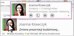 Szybkie menu programu Skype dla firm w programie Outlook