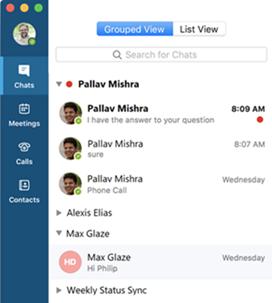 Zrzut ekranu przedstawiający widok pogrupowany w programie Skype dla firm na komputerze Mac