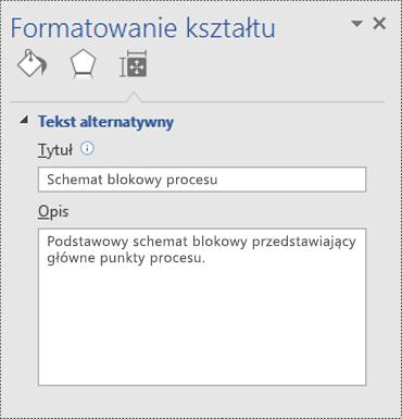 Okno dialogowe Formatowane kształtu w programie Visio.