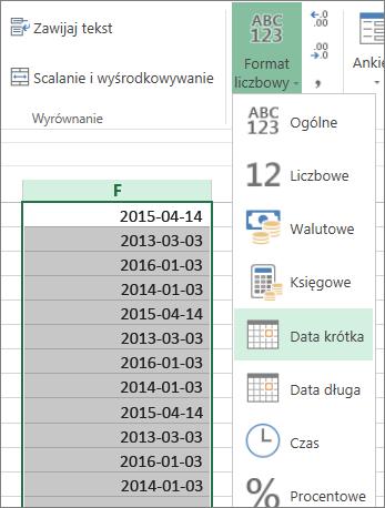 zmiana formatu danych na datę krótką przy użyciu wstążki