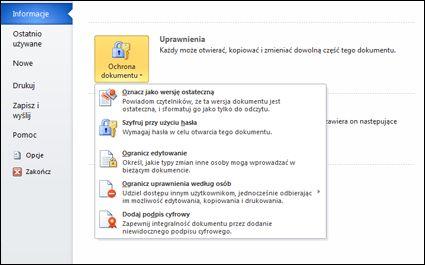 Przycisk Chroń dokument z opcjami