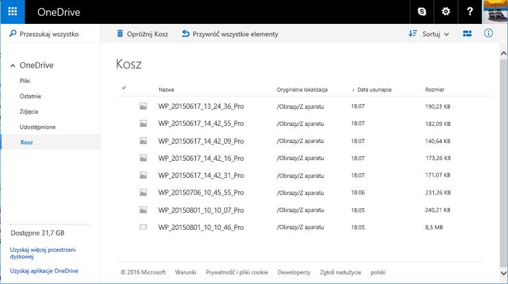 Kosz w witrynie internetowej usługi OneDrive