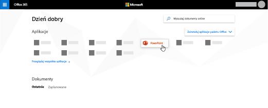 Witryna usługi Office 365 z wyróżnioną aplikacją PowerPoint