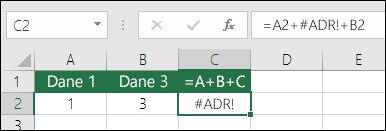 Błąd #ADR! spowodowany przez usunięcie kolumny.  Formuła zmieniła się na =A2+#ADR!+B2