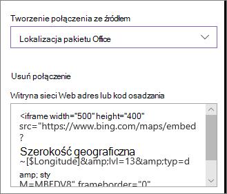 Przykładowy kod osadzania umożliwiający wyświetlanie lokalizacji