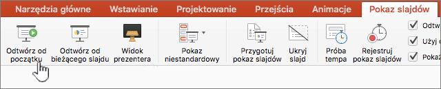 Odtwarzanie pokazu slajdów za pomocą przycisku start