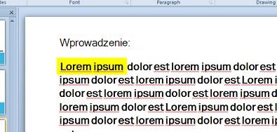 Wyróżnienie tekstu symulowane przy użyciu pola tekstowego wypełnionego kolorem