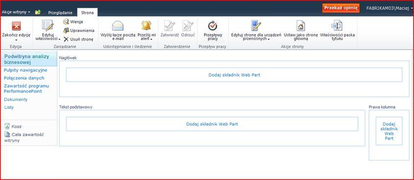 Strona składników Web Part ze strefą umożliwiającą dodawanie składników Web Part
