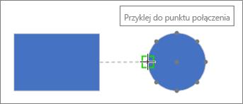 Na kształcie docelowym jest pokazywana etykietka narzędzia: Przyklej do punktu połączenia